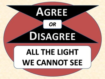 ALL THE LIGHT WE CANNOT SEE - Agree or Disagree Pre-reading Activity