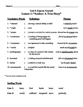 ALL UNIT 3: Express Yourself Vocabulary Lists and Tests for CA Treasures