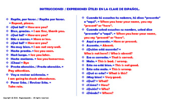 All Useful Expression in our Spanish Class.