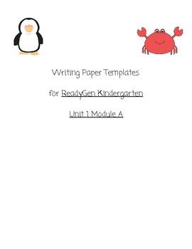 ALL Writing Templates/PBA Unit 1a: ReadyGen Kindergarten