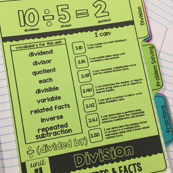 ALL TEKS! ALL YEAR! Tabbed Interactive Notebook Dividers 3rd Grade Math Journals