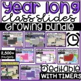 ALL Year Editable Morning Message Templates (Class Slides) with Timers!