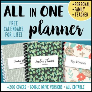 Editable Teacher Binder - ALL in ONE Planner - Teacher & Personal TOO!