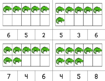 ALLIGATORS Counting to 10 Clip It {A Beginning Work Task)