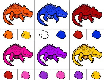 ALLIGATORS Color Match Clip It {A Beginning Work Task)