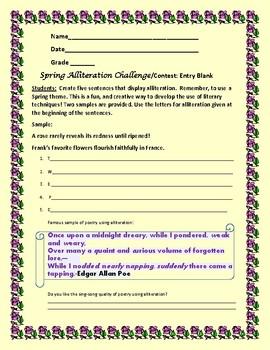 ALLITERATION CHALLENGE: A Literary Technique Activity/Contest