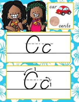 ALOHA / beach - Alphabet Cards, Handwriting, D'Nealian, ABC cards with pictures