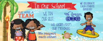 ALOHA / hawaiian / beach theme - Classroom Decor: LARGE BANNER, In Our School