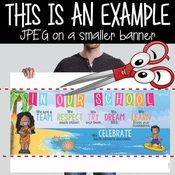 ALOHA theme - Classroom Decor: LARGE BANNER, In Our School, printable