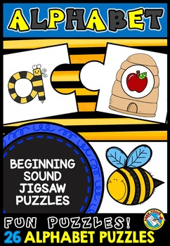 SPRING LITERACY ACTIVITIES: BEE THEMED ALPHABET PUZZLES: BEGINNING SOUND PUZZLES