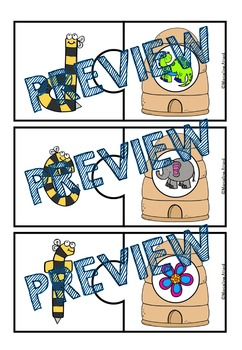 SPRING ACTIVITY KINDERGARTEN (BEE THEME ALPHABET PUZZLES) BEGINNING SOUND CENTER