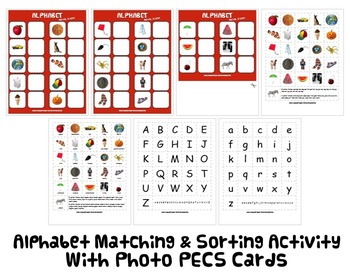 ALPHABET ABC MATCH & SORT ACTIVITY w PECS autism speech therapy aba phonics  pdf