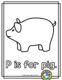 ALPHABET COLORING PAGE (P IS FOR PIG PRINTABLE)