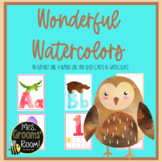 ALPHABET AND NUMBER LINE:  WATERCOLORS