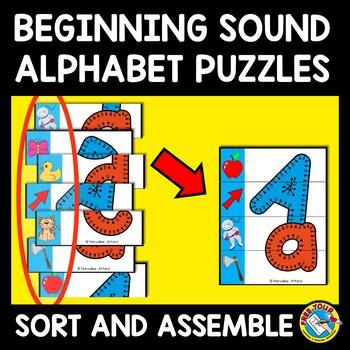 BEGINNING SOUNDS CENTER (ALPHABET PUZZLE ACTIVITY KINDERGARTEN AND PRESCHOOL)