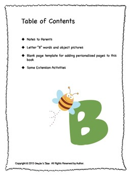 ALPHABET BOOK for LETTER B Letter-Sound-Object Recognition Activities