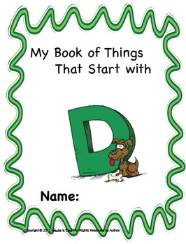 ALPHABET BOOK for LETTER D Letter-Sound-Object Recognition Activities