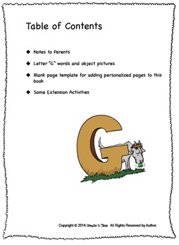 ALPHABET BOOK for LETTER G Letter-Sound-Object Recognition Activities