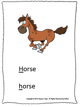 ALPHABET BOOK for LETTER H Letter-Sound-Object Recognition Activities