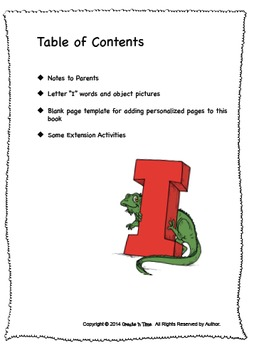 ALPHABET BOOK for LETTER I Letter-Sound-Object Recognition Activities