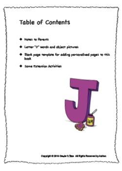 ALPHABET BOOK for LETTER J Letter-Sound-Object Recognition Activities