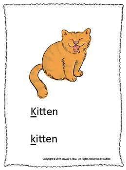 ALPHABET BOOK for LETTER K Letter-Sound-Object Recognition Activities