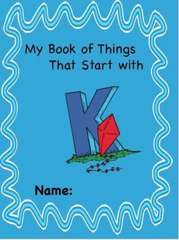 ALPHABET BOOK for LETTER K Letter-Sound-Object Recognition