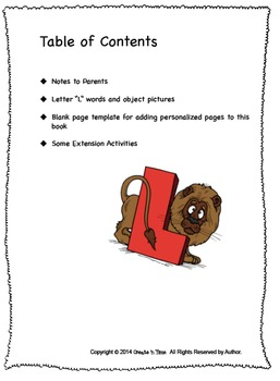 ALPHABET BOOK for LETTER L Letter-Sound-Object Recognition Activities