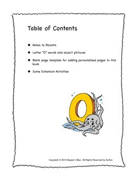 ALPHABET BOOK for LETTER O Letter-Sound-Object Recognition Activities