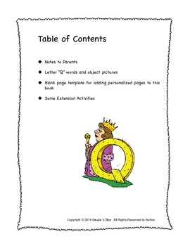 ALPHABET BOOK for LETTER Q Letter-Sound-Object Recognition Activities