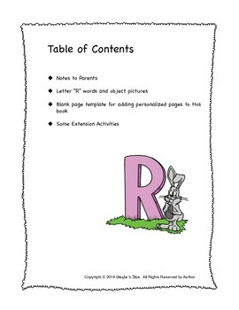 ALPHABET BOOK for LETTER R Letter-Sound-Object Recognition Activities