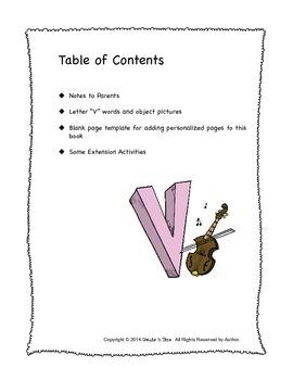 ALPHABET BOOK for LETTER V Letter-Sound-Object Recognition Activities