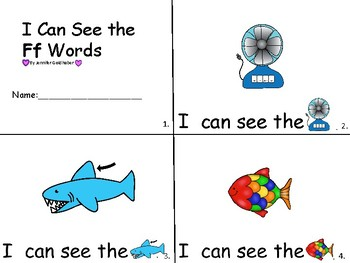 ALPHABET Booklets Letter Ff-Vocabulary-Sight Words-I can see Ff Words