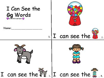 ALPHABET Booklets Letter Gg-Vocabulary-Sight Words-I can see Gg Words