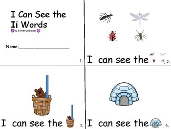 ALPHABET Booklets Letter Ii-Vocabulary-Sight Words-I can see Ii Words