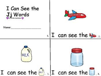 ALPHABET Booklets Letter Jj-Vocabulary-Sight Words-I can see Jj Words