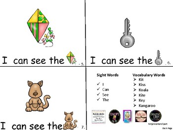 ALPHABET Booklets Letter Kk-Vocabulary-Sight Words-I can see Kk Words