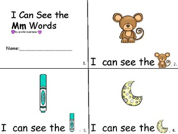 ALPHABET Booklets Letter Mm-Vocabulary-Sight Words-I can see Mm Words