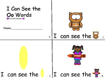 ALPHABET Booklets Letter Oo-Vocabulary-Sight Words-I can see Oo Words
