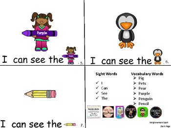 ALPHABET Booklets Letter Pp-Vocabulary-Sight Words-I can see Pp Words