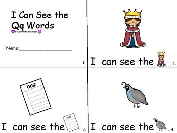 ALPHABET Booklets Letter Qq-Vocabulary-Sight Words-I can see Qq Words