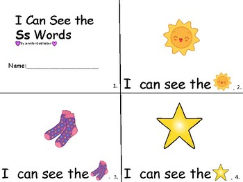 ALPHABET Booklets Letter Ss-Vocabulary-Sight Words-I can see Ss Words