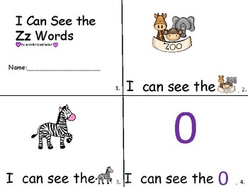 ALPHABET Booklets Letter Zz-Vocabulary-Sight Words-I can see Zz Words