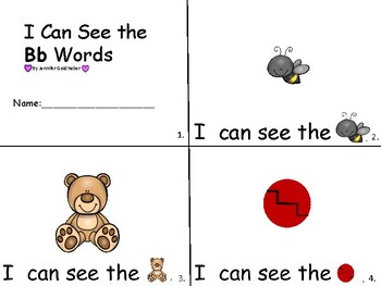 ALPHABET Booklets- Vocabulary-Sight Words- I Can See The Bb Words