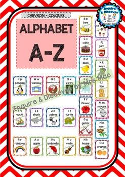 Back To School ALPHABET CHART  - Classroom Decor - Chevron