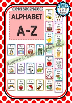Back To School ALPHABET CHART - A to Z - Classroom Decor