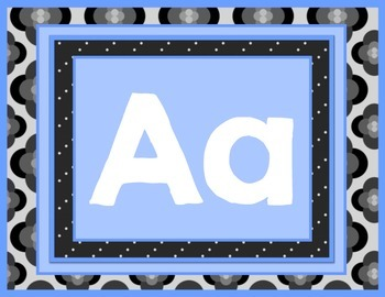 ALPHABET CHART in Blue, Black, and Gray for Back to School
