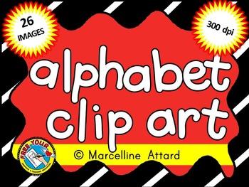 ALPHABET CLIPART: LOWERCASE LETTERS: BLACK LINE IMAGES