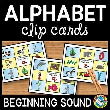 BEGINNING SOUNDS CLIP CARDS ACTIVITY (ALPHABET REVIEW CENTERS)