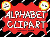 BLACK AND WHITE ALPHABET CLIPART LETTERS (UPPERCASE ALPHABET LETTERS CLIPART)